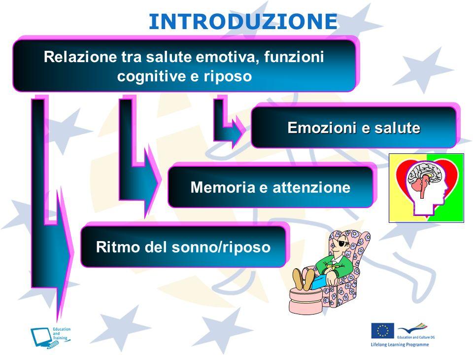 Relazione tra salute emotiva, funzioni cognitive e riposo Ritmo del sonno/riposo Memoria e attenzione Emozioni e salute INTRODUZIONE