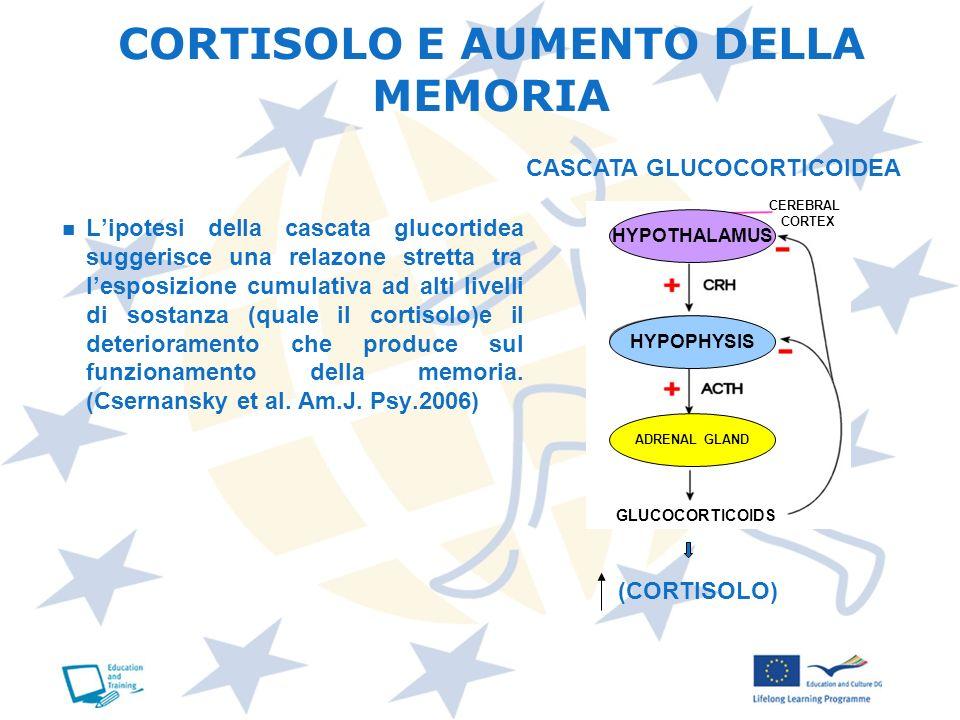 CORTISOLO E AUMENTO DELLA MEMORIA Lipotesi della cascata glucortidea suggerisce una relazone stretta tra lesposizione cumulativa ad alti livelli di so