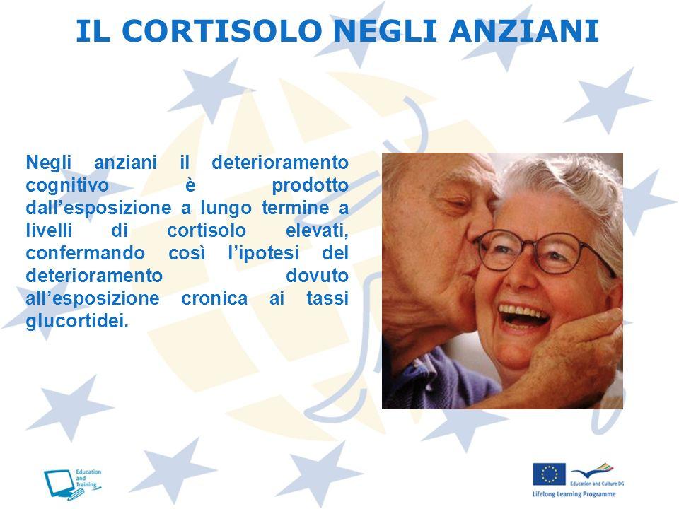 IL CORTISOLO NEGLI ANZIANI Negli anziani il deterioramento cognitivo è prodotto dallesposizione a lungo termine a livelli di cortisolo elevati, confer