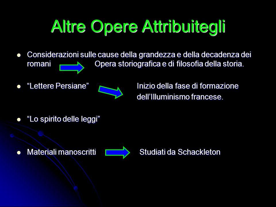 Altre Opere Attribuitegli Considerazioni sulle cause della grandezza e della decadenza dei romani Opera storiografica e di filosofia della storia. Let