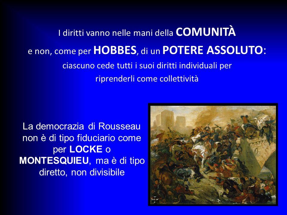 I diritti vanno nelle mani della COMUNITÀ e non, come per HOBBES, di un POTERE ASSOLUTO: ciascuno cede tutti i suoi diritti individuali per riprenderl