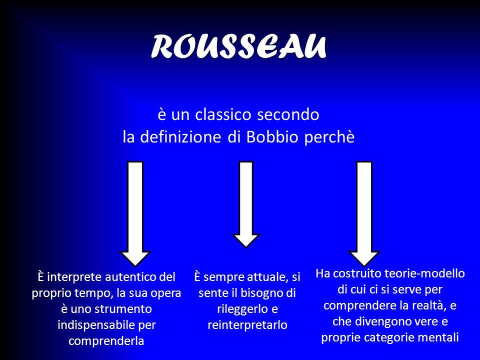 ROUSSEAU ROUSSEAU è un classico secondo la definizione di Bobbio perchè È sempre attuale, si sente il bisogno di rileggerlo e reinterpretarlo È interp