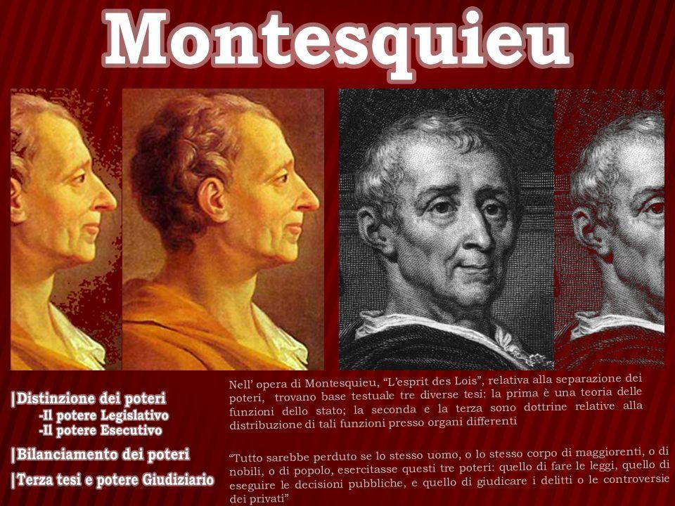 Nell opera di Montesquieu, Lesprit des Lois, relativa alla separazione dei poteri, trovano base testuale tre diverse tesi: la prima è una teoria delle