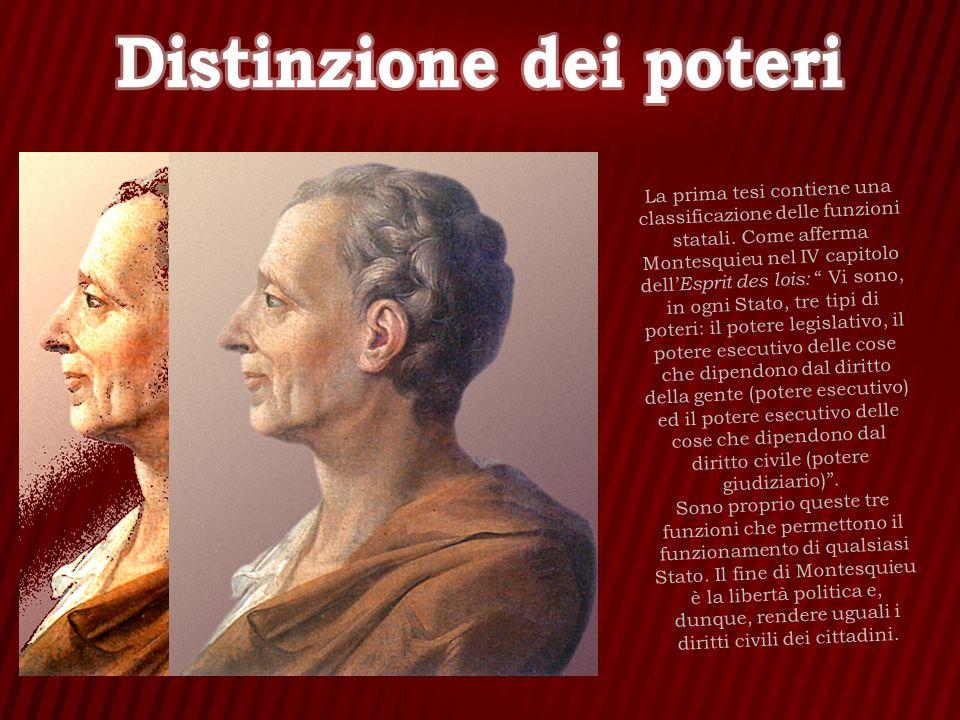 La prima tesi contiene una classificazione delle funzioni statali. Come afferma Montesquieu nel IV capitolo dell Esprit des lois: Vi sono, in ogni Sta