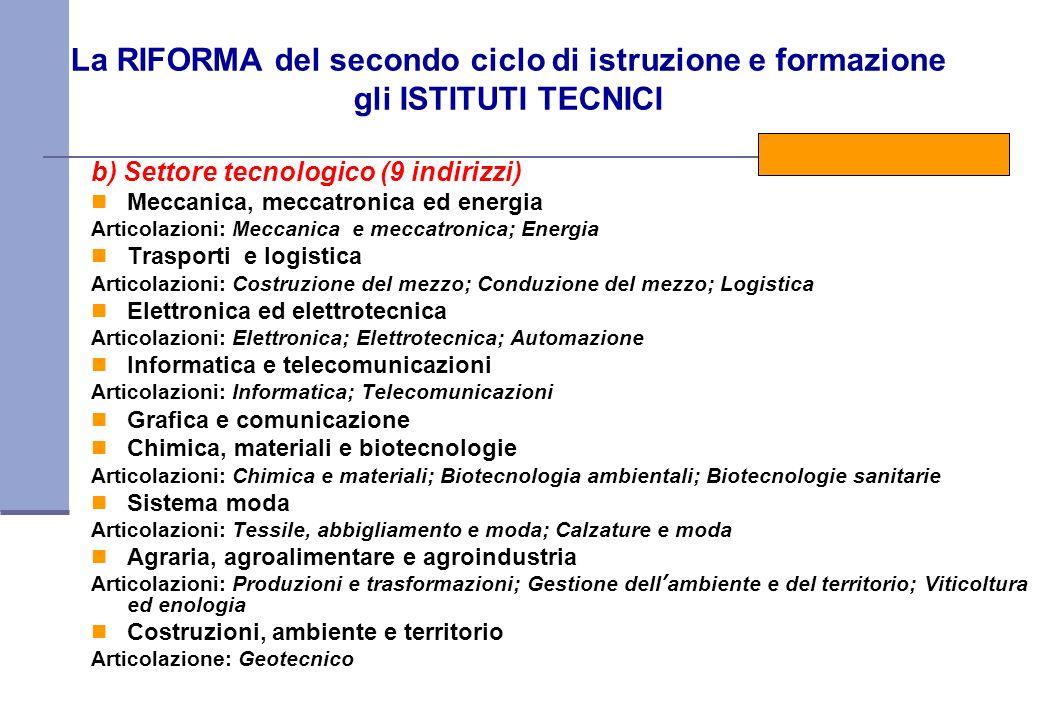 La RIFORMA del secondo ciclo di istruzione e formazione gli ISTITUTI TECNICI b) Settore tecnologico (9 indirizzi) Meccanica, meccatronica ed energia A