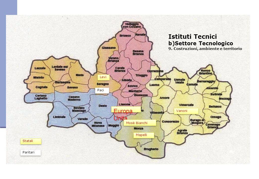 Istituti Tecnici b)Settore Tecnologico 9. Costruzioni, ambiente e territorio Europa Unita Vanoni Mosè Bianchi Paci Mapelli Levi Statali Paritari