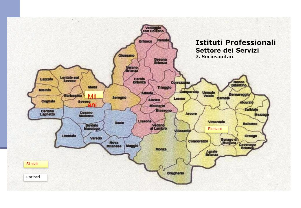 Istituti Professionali Settore dei Servizi 2. Sociosanitari Mil ani Floriani Statali Paritari