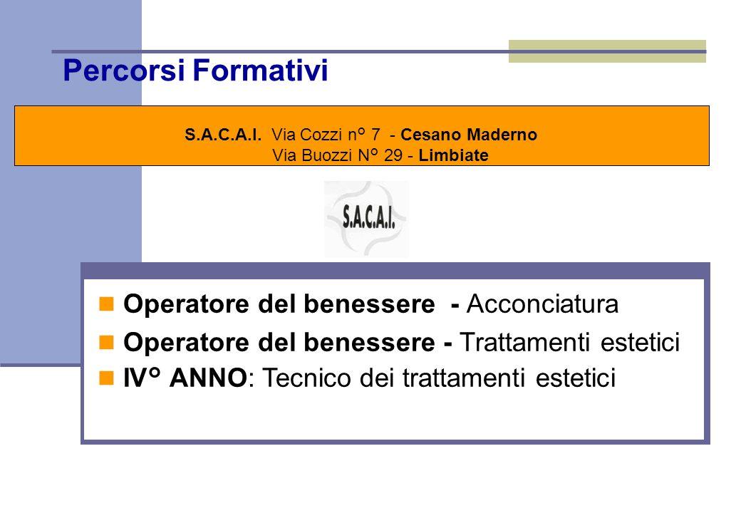 Percorsi Formativi S.A.C.A.I. Via Cozzi n° 7 - Cesano Maderno Via Buozzi N° 29 - Limbiate Stage \ Alternanza Lo stage, a partire dal 2° anno, è finali