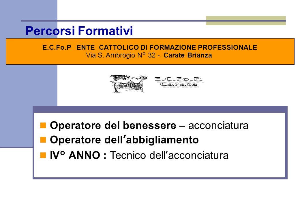 Percorsi Formativi E.C.Fo.P ENTE CATTOLICO DI FORMAZIONE PROFESSIONALE Via S.
