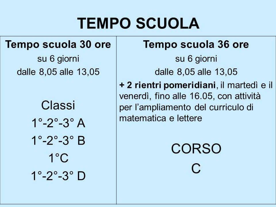 TEMPO SCUOLA Tempo scuola 30 ore su 6 giorni dalle 8,05 alle 13,05 Classi 1°-2°-3° A 1°-2°-3° B 1°C 1°-2°-3° D Tempo scuola 36 ore su 6 giorni dalle 8