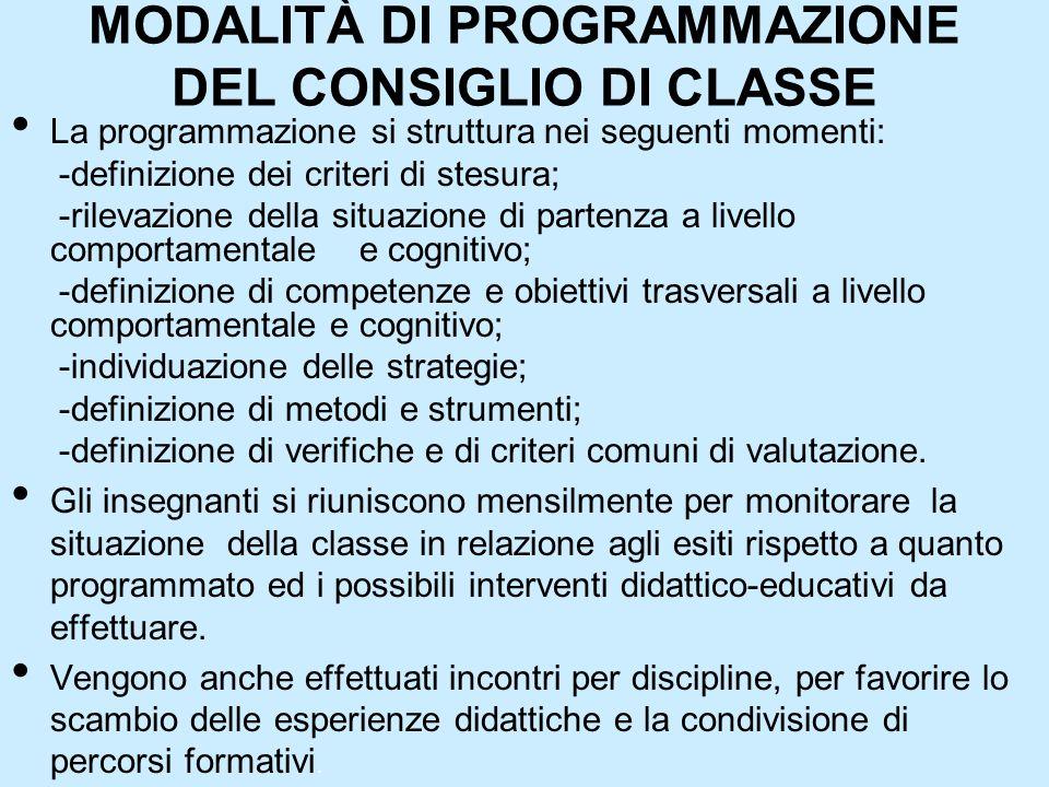 MODALITÀ DI PROGRAMMAZIONE DEL CONSIGLIO DI CLASSE La programmazione si struttura nei seguenti momenti: -definizione dei criteri di stesura; -rilevazi