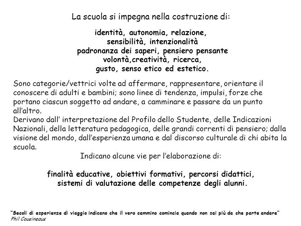 La scuola si impegna nella costruzione di: identità, autonomia, relazione, sensibilità, intenzionalità padronanza dei saperi, pensiero pensante volont