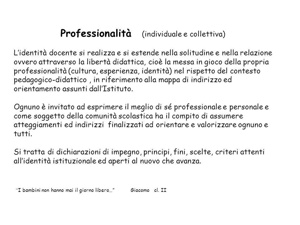 Professionalità (individuale e collettiva) Lidentità docente si realizza e si estende nella solitudine e nella relazione ovvero attraverso la libertà
