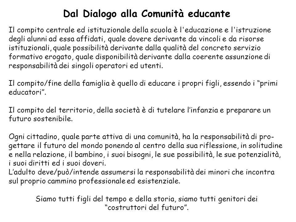 Dal Dialogo alla Comunità educante Il compito centrale ed istituzionale della scuola è l'educazione e l'istruzione degli alunni ad essa affidati, qual