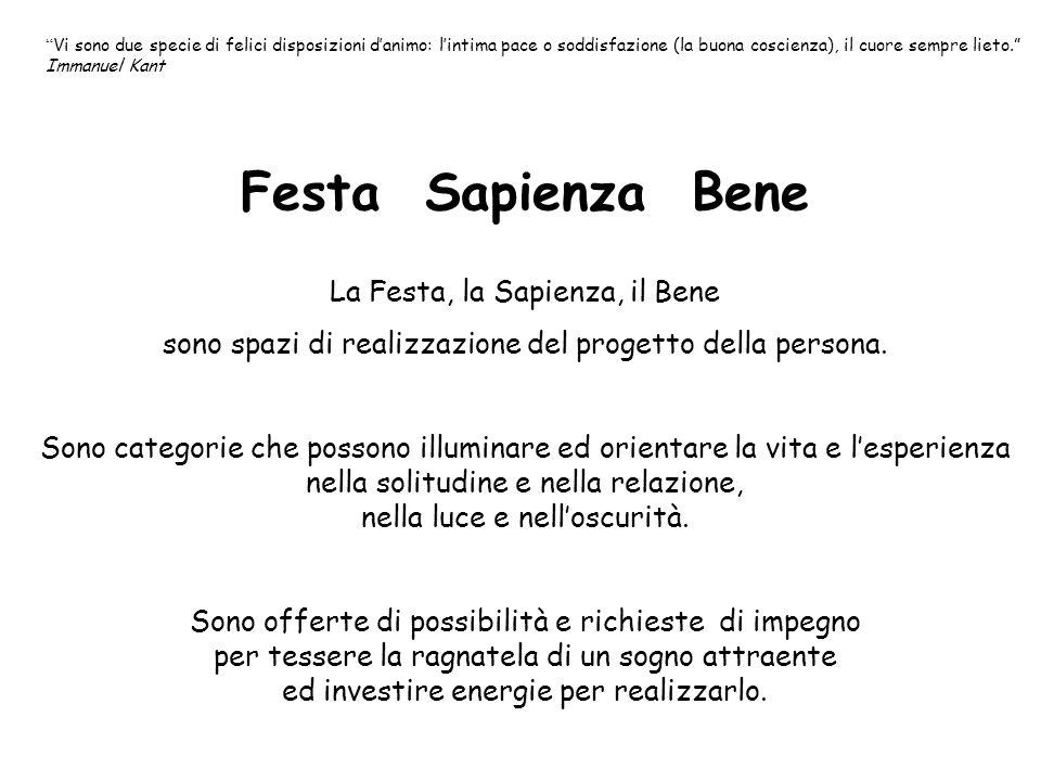 Festa Sapienza Bene La Festa, la Sapienza, il Bene sono spazi di realizzazione del progetto della persona. Sono categorie che possono illuminare ed or
