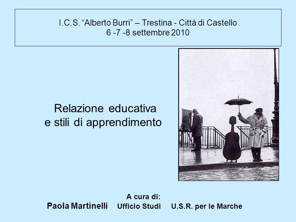 I.C.S. Alberto Burri – Trestina - Città di Castello 6 -7 -8 settembre 2010 Relazione educativa e stili di apprendimento A cura di: Paola Martinelli Uf