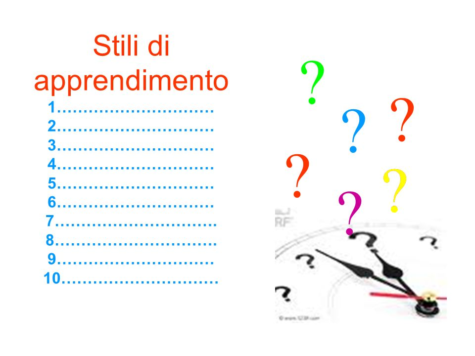Stili di apprendimento 1………………………… 2………………………… 3………………………… 4………………………… 5………………………… 6………………………… 7…………………………. 8…………………………. 9………………………… 10………………………… ?? ?