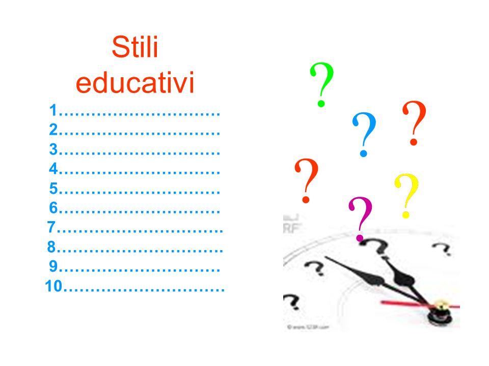 Stili educativi 1………………………… 2………………………… 3………………………… 4………………………… 5………………………… 6………………………… 7…………………………. 8…………………………. 9………………………… 10………………………… ?? ? ? ? ?