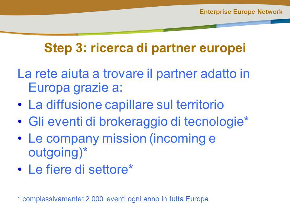 Enterprise Europe Network Step 3: ricerca di partner europei La rete aiuta a trovare il partner adatto in Europa grazie a: La diffusione capillare sul territorio Gli eventi di brokeraggio di tecnologie* Le company mission (incoming e outgoing)* Le fiere di settore* * complessivamente12.000 eventi ogni anno in tutta Europa