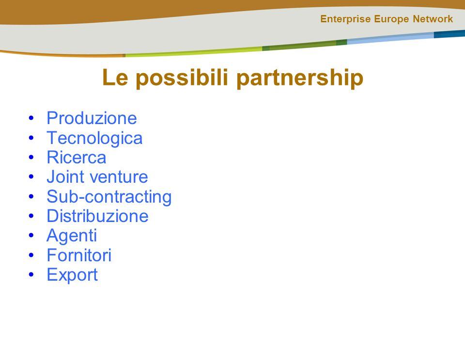 Enterprise Europe Network Le possibili partnership Produzione Tecnologica Ricerca Joint venture Sub-contracting Distribuzione Agenti Fornitori Export