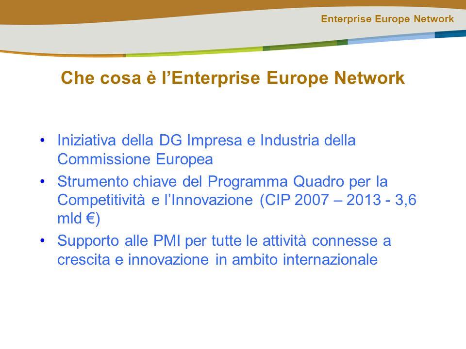 Enterprise Europe Network Che cosa è lEnterprise Europe Network Iniziativa della DG Impresa e Industria della Commissione Europea Strumento chiave del Programma Quadro per la Competitività e lInnovazione (CIP 2007 – 2013 - 3,6 mld ) Supporto alle PMI per tutte le attività connesse a crescita e innovazione in ambito internazionale