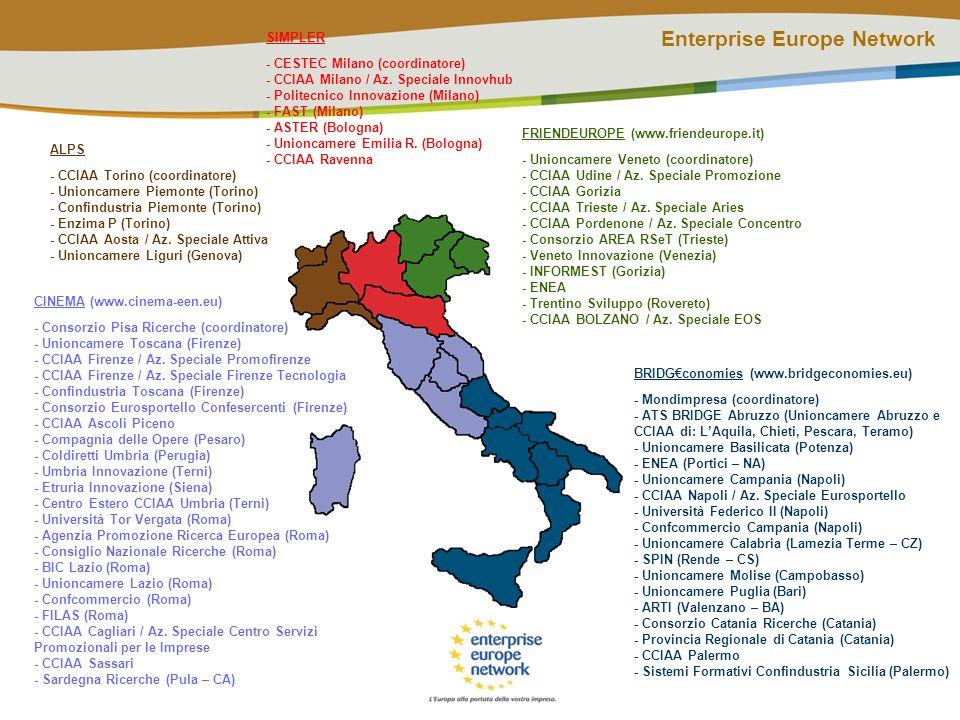 Enterprise Europe Network LEuropa alla portata della vostra impresa Offre aiuto per trovare nuovi business partner Offre il modo di acquisire o vendere una tecnologia Offre consulenza su come sviluppare unidea innovativa