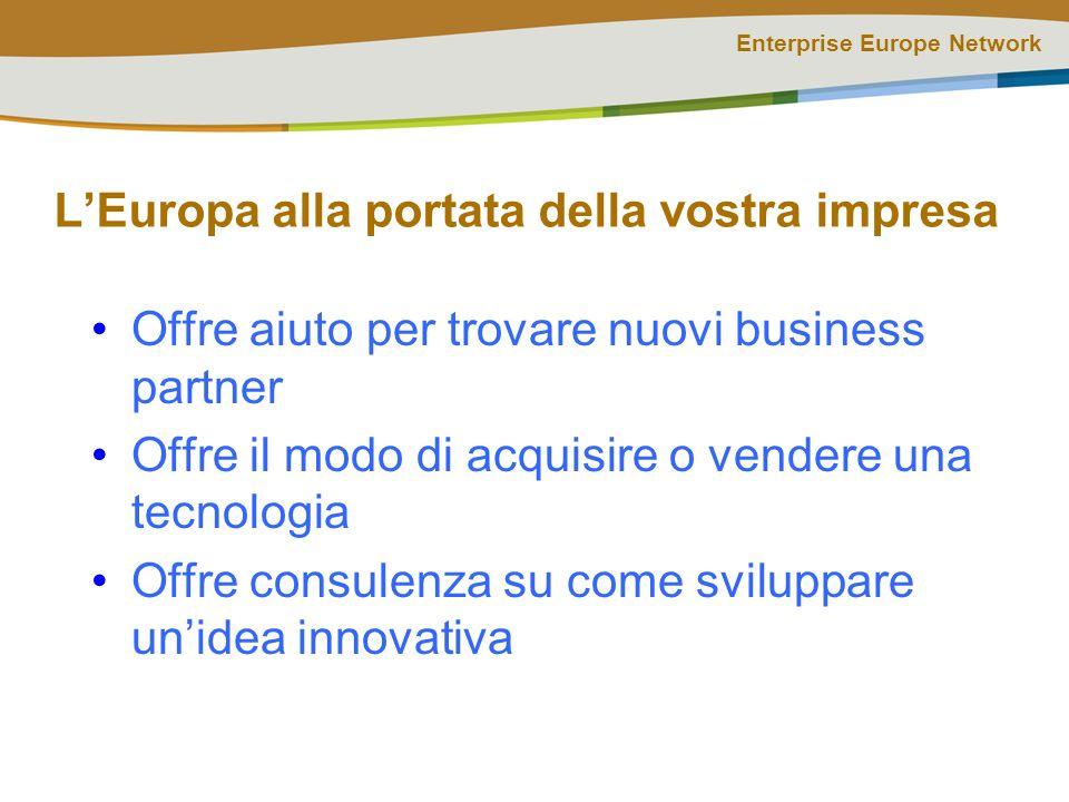 Enterprise Europe Network Una rete costruita su metodologie collaudate: esperienza e professionalità Coniuga gli aspetti commerciali e quelli tecnologici, nel rispetto del NO WRONG DOOR Riunisce esperienze diverse maturate in oltre 10 anni di attività Offre al territorio un approccio integrato