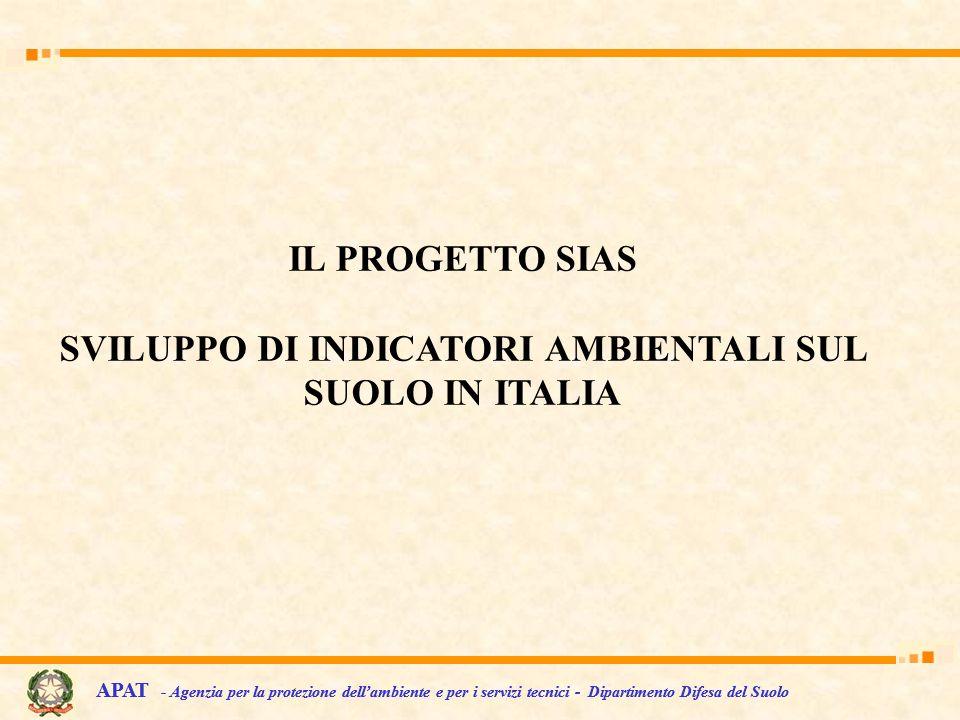 IL PROGETTO SIAS SVILUPPO DI INDICATORI AMBIENTALI SUL SUOLO IN ITALIA APAT - Agenzia per la protezione dellambiente e per i servizi tecnici - Diparti