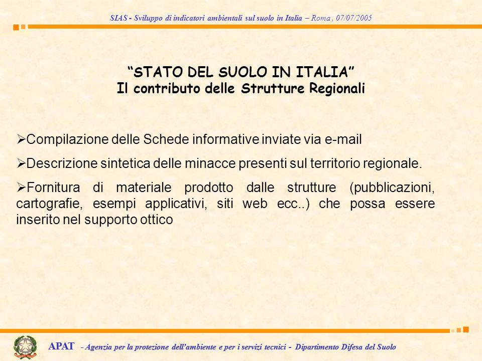 STATO DEL SUOLO IN ITALIA Il contributo delle Strutture Regionali Compilazione delle Schede informative inviate via e-mail Descrizione sintetica delle