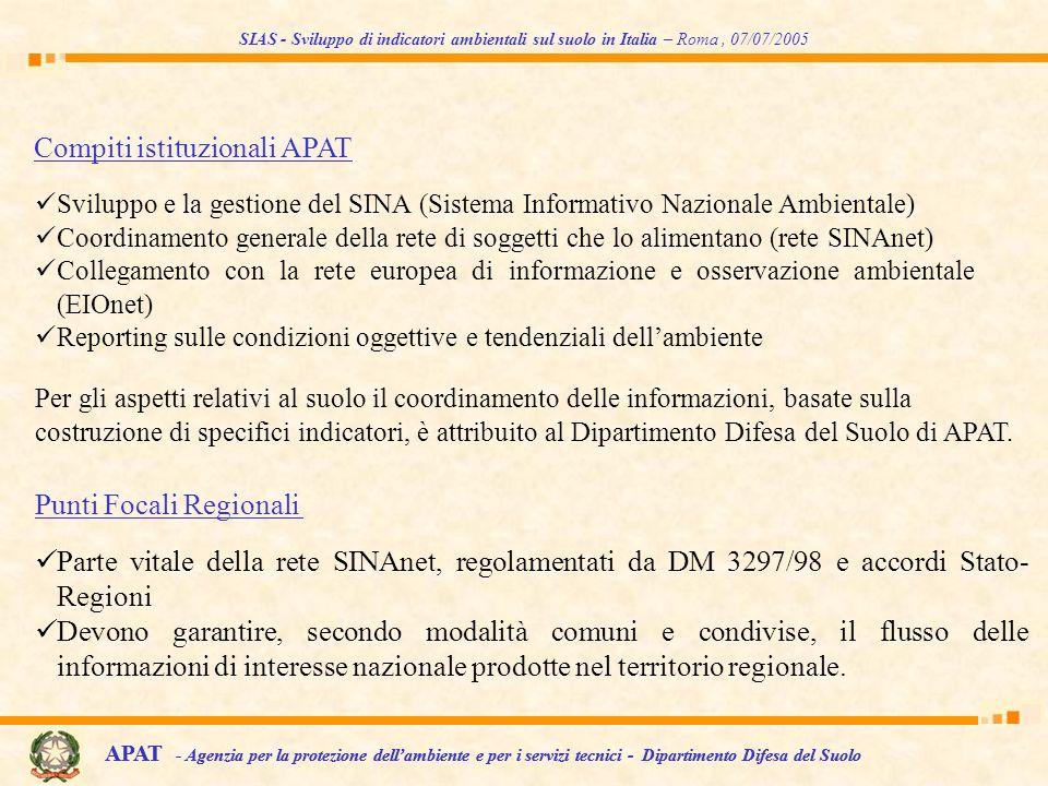 SIAS - Sviluppo di indicatori ambientali sul suolo in Italia – Roma, 07/07/2005 Parte vitale della rete SINAnet, regolamentati da DM 3297/98 e accordi
