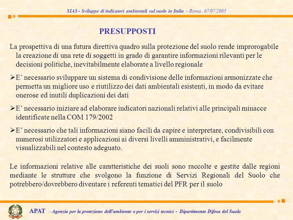 La prospettiva di una futura direttiva quadro sulla protezione del suolo rende improrogabile la creazione di una rete di soggetti in grado di garantir