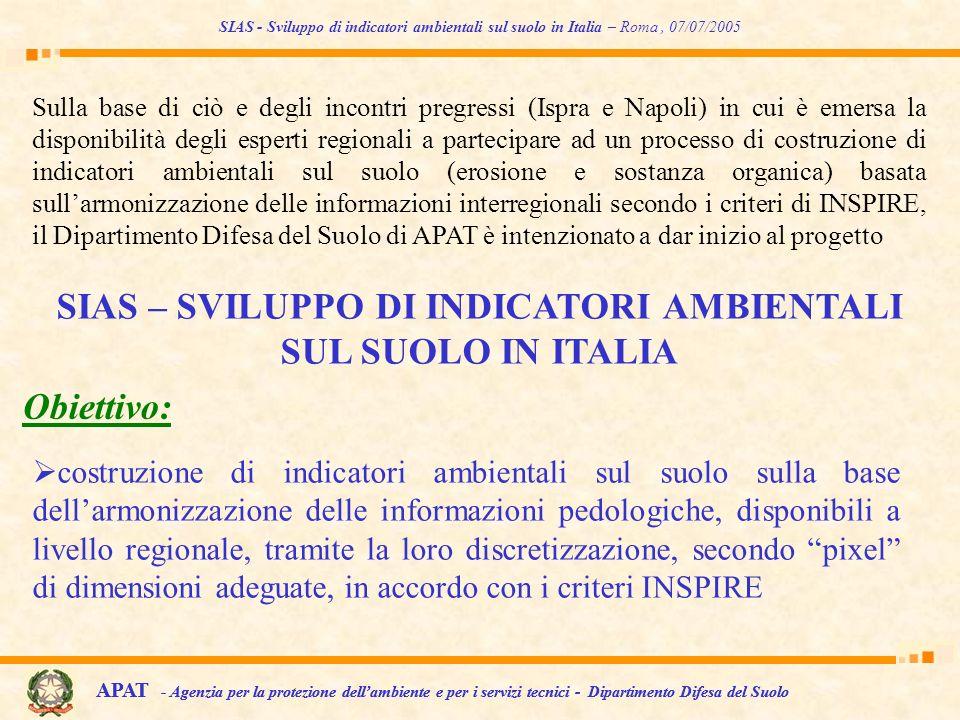 costruzione di indicatori ambientali sul suolo sulla base dellarmonizzazione delle informazioni pedologiche, disponibili a livello regionale, tramite
