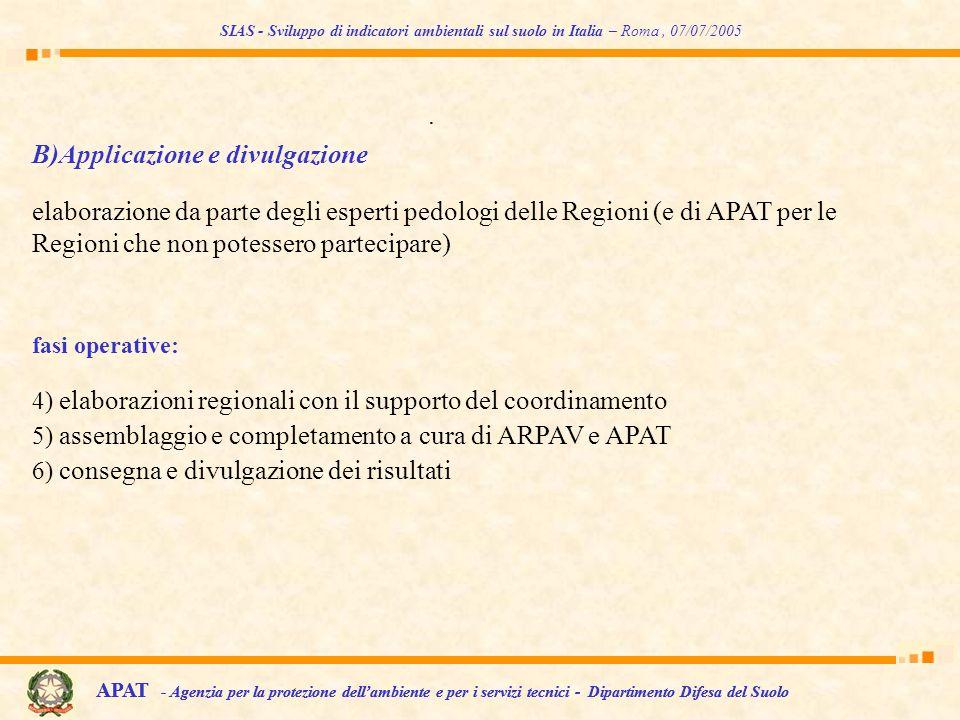 SIAS - Sviluppo di indicatori ambientali sul suolo in Italia – Roma, 07/07/2005 APAT - Agenzia per la protezione dellambiente e per i servizi tecnici