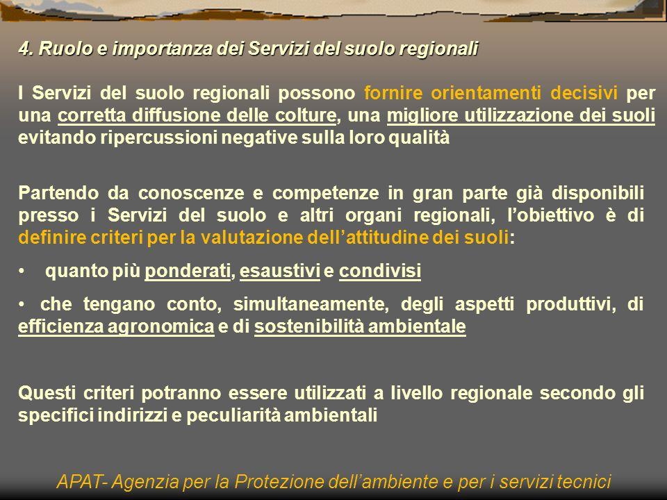4. Ruolo e importanza dei Servizi del suolo regionali I Servizi del suolo regionali possono fornire orientamenti decisivi per una corretta diffusione