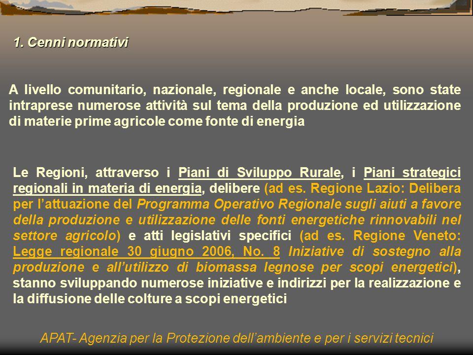 A livello comunitario, nazionale, regionale e anche locale, sono state intraprese numerose attività sul tema della produzione ed utilizzazione di materie prime agricole come fonte di energia Le Regioni, attraverso i Piani di Sviluppo Rurale, i Piani strategici regionali in materia di energia, delibere (ad es.
