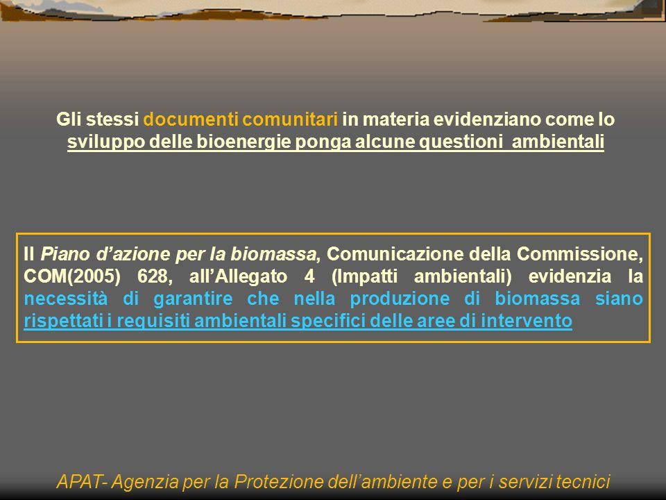 Gli stessi documenti comunitari in materia evidenziano come lo sviluppo delle bioenergie ponga alcune questioni ambientali APAT- Agenzia per la Protezione dellambiente e per i servizi tecnici Il Piano dazione per la biomassa, Comunicazione della Commissione, COM(2005) 628, allAllegato 4 (Impatti ambientali) evidenzia la necessità di garantire che nella produzione di biomassa siano rispettati i requisiti ambientali specifici delle aree di intervento