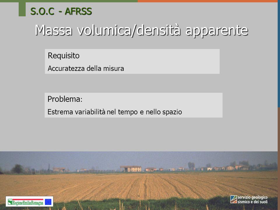 Massa volumica/densità apparente Requisito Accuratezza della misura Problema : Estrema variabilità nel tempo e nello spazio S.O.C- AFRSS