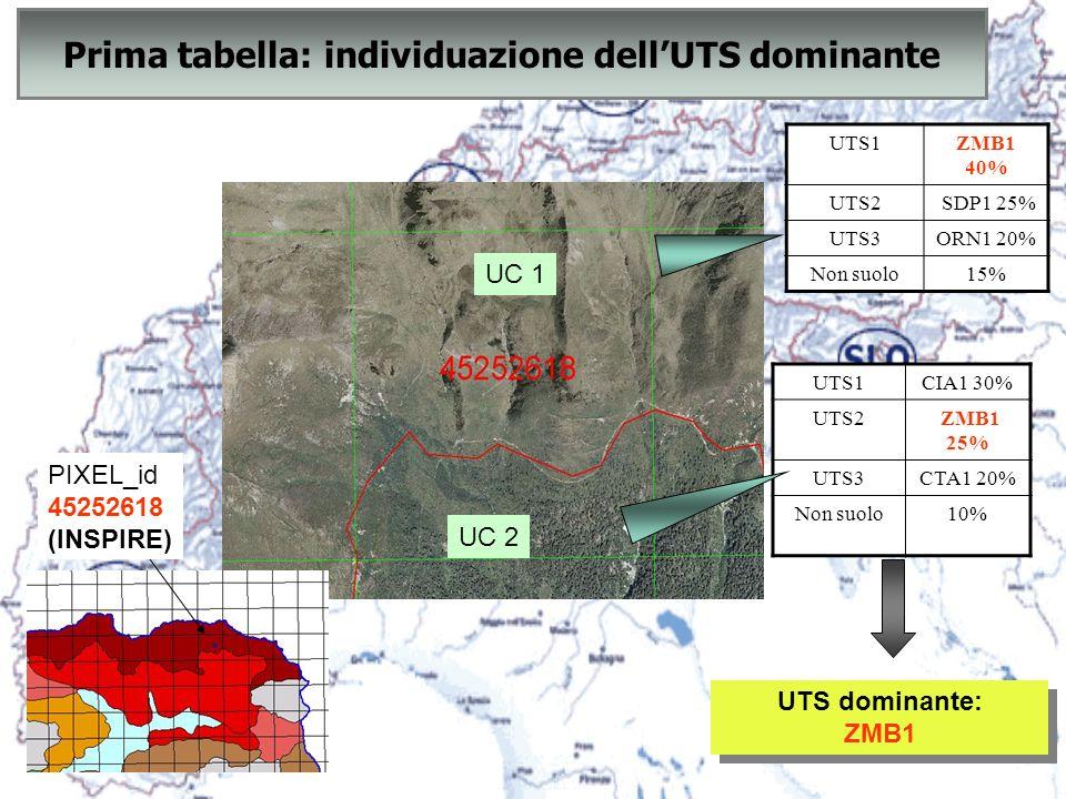 UC 2 UC 1 Prima tabella: individuazione dellUTS dominante UTS1ZMB1 40% UTS2 SDP1 25% UTS3ORN1 20% Non suolo15% UTS1CIA1 30% UTS2 ZMB1 25% UTS3CTA1 20%
