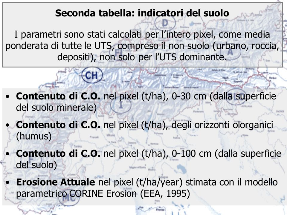 Contenuto di C.O. nel pixel (t/ha), 0-30 cm (dalla superficie del suolo minerale) Contenuto di C.O. nel pixel (t/ha), degli orizzonti olorganici (humu