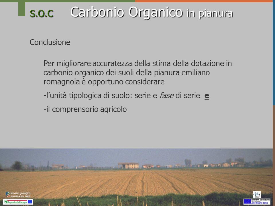 S.O.C Carbonio Organico in pianura Conclusione Per migliorare accuratezza della stima della dotazione in carbonio organico dei suoli della pianura emi