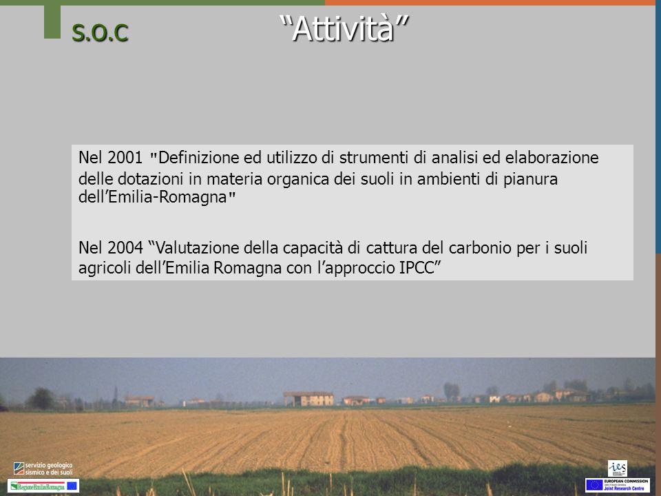 S.O.C Capacità di cattura dei suoli agricoli procedura IPCC - RER Dati sulla riserva di carbonio dei suoli agroforestali (Corg) in ambiente di collina e montagna Unità cartografiche della Carta dei suoli 1:250.000 con uso agricolo dominante : Dati BDS 790 osservazioni analizzate (3813 presenti) Dati SACT 9.094 campioni di terreno Spazializzazione: valore modale per Unità Cartografica