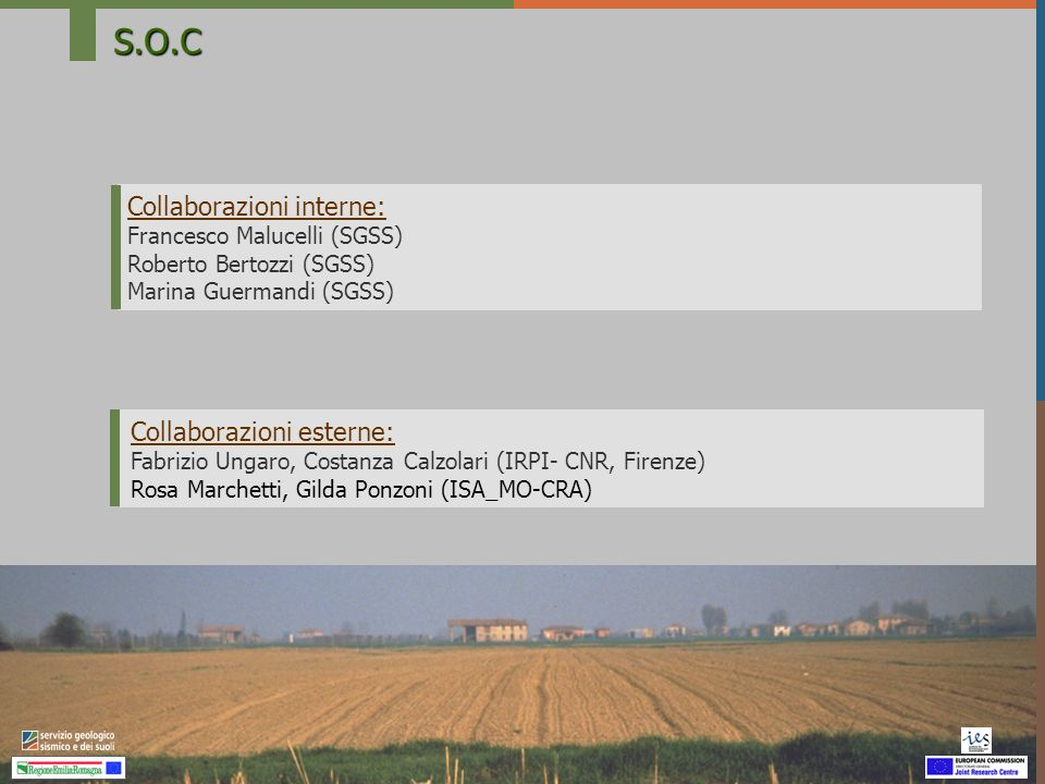 S.O.C Collaborazioni interne: Francesco Malucelli (SGSS) Roberto Bertozzi (SGSS) Marina Guermandi (SGSS) Collaborazioni esterne: Fabrizio Ungaro, Cost