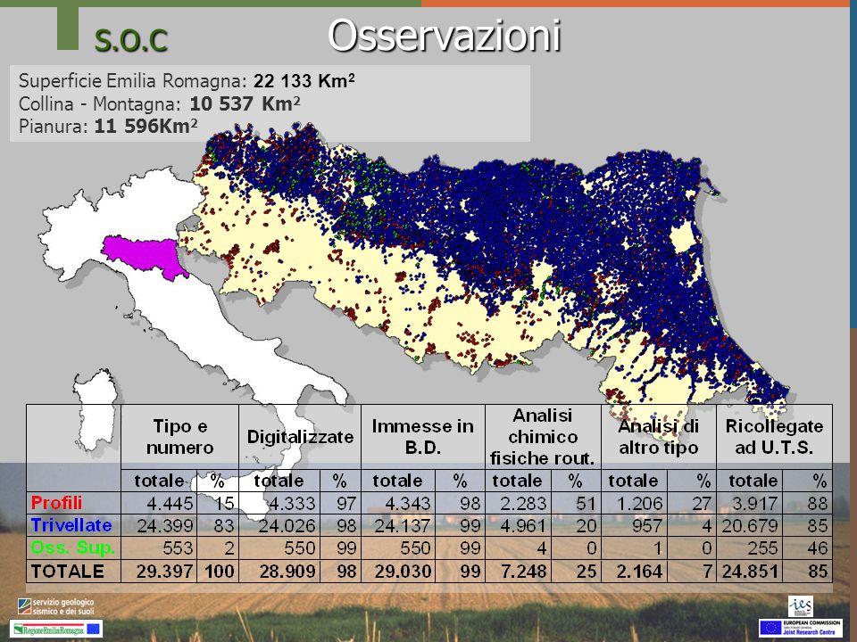 S.O.C Osservazioni Superficie Emilia Romagna: 22 133 Km 2 Collina - Montagna: 10 537 Km 2 Pianura: 11 596Km 2