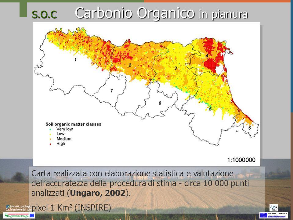 S.O.C Carbonio Organico in pianura Differenze nella distribuzione geografica della sostanza organica: Geografia dei suoli Comprensori agricoli: definiti per prevalenza degli ordinamenti colturali