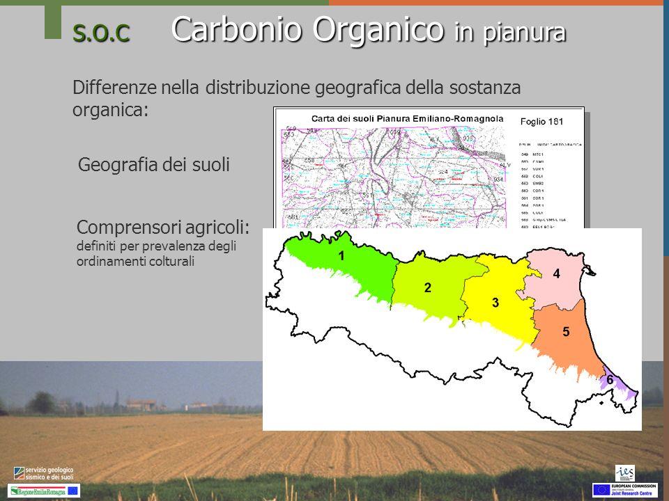 S.O.C Carbonio Organico in pianura Differenze nella distribuzione geografica della sostanza organica: Geografia dei suoli Comprensori agricoli: defini