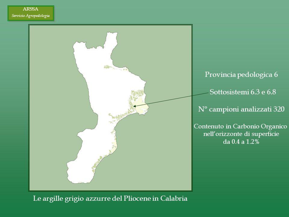ARSSA Servizio Agropedologia ARSSA Servizio Agropedologia Le argille grigio azzurre del Pliocene in Calabria Provincia pedologica 6 Sottosistemi 6.3 e 6.8 N° campioni analizzati 320 Contenuto in Carbonio Organico nellorizzonte di superficie da 0.4 a 1.2%