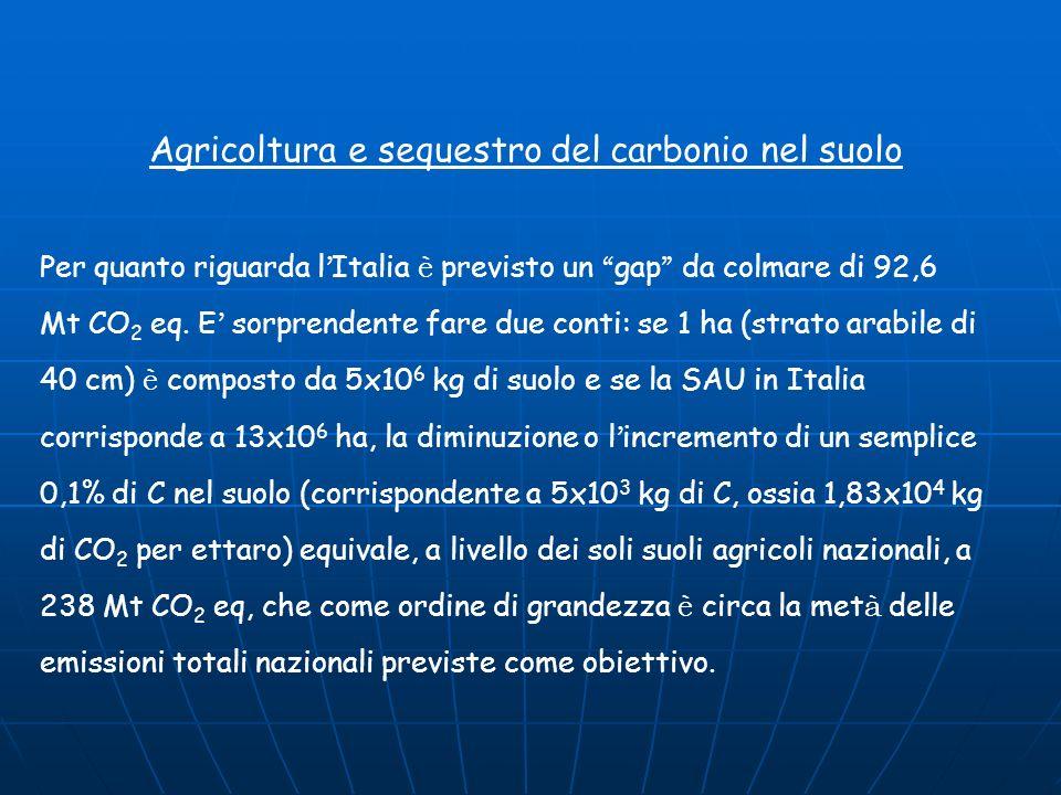 La situazione in Italia GAS SERRA CO 2 CH 4 N2OTOTALE (in Mt CO 2 eq.