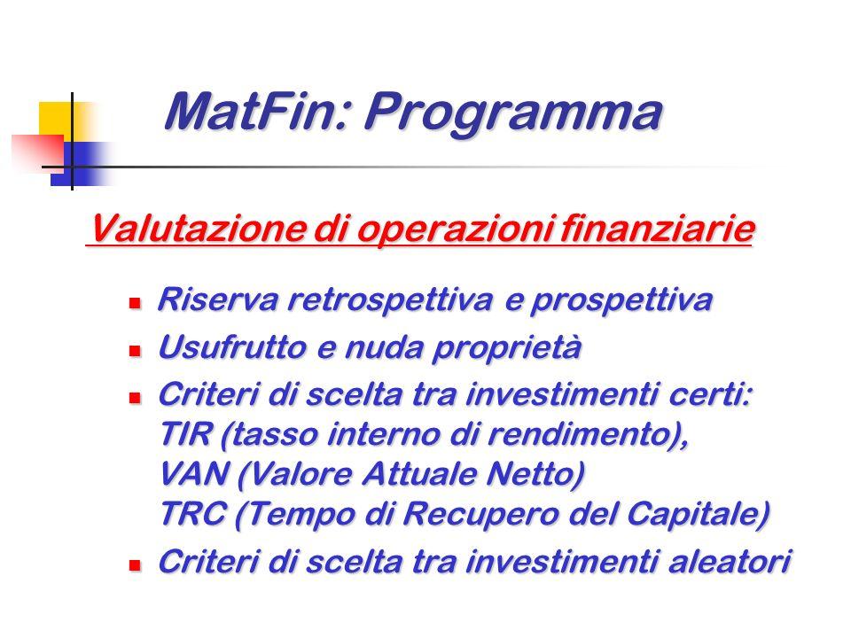MatFin: Programma MatFin: Programma Ammortamento di prestiti indivisi (3/3) Valutazione di prestiti indivisi Valutazione di prestiti indivisi Nuda pro