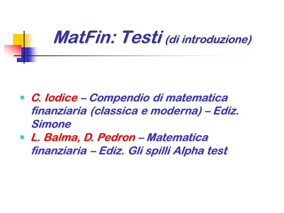 F. Cacciafesta – Lezioni di matematica finanziaria classica e moderna – Ediz. Giappichelli F. Cacciafesta – Lezioni di matematica finanziaria classica