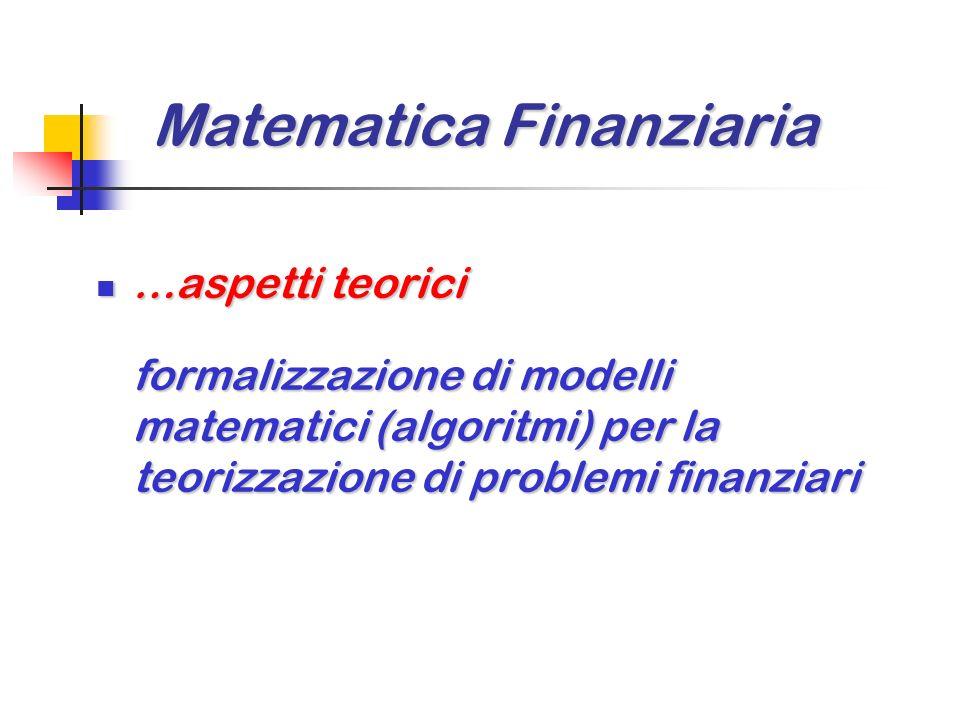 Matematica Finanziaria La Matematica Finanziaria e una matematica applicata, che utilizza concetti e metodologie di vari rami della matematica e compo